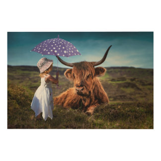 Girl and Cow Wood Canvas