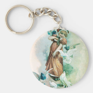 GIRL AND DOVES KEY RING