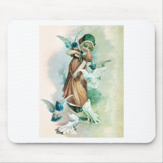 GIRL AND DOVES MOUSE PAD
