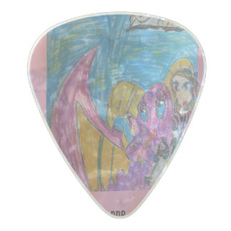 Girl and Dragon and Wolf Pearl Celluloid Guitar Pick