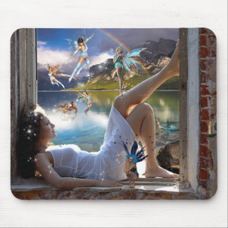 Girl and Fairies Mouse Pad