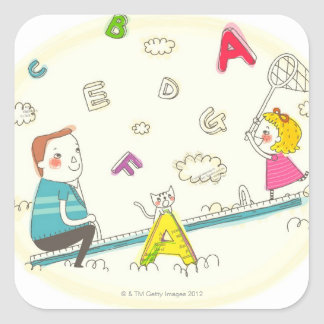Girl and father sitting on seesaw square sticker