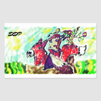 girl and fox rectangular sticker