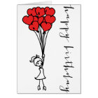Girl and Heart Balloons Doodle Happy Birthday Card