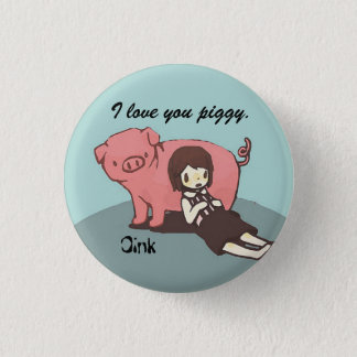 Girl and her pig 3 cm round badge