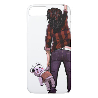 Girl and Her Teddybot iPhone 7 Case