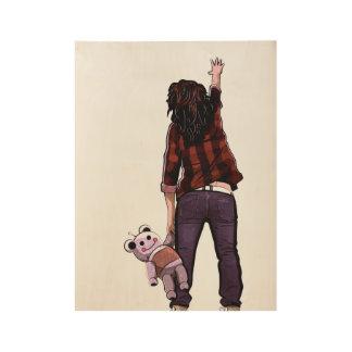 Girl and her Teddybot Wood Poster