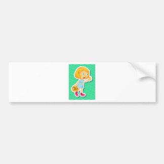Girl and mushroom bumper sticker