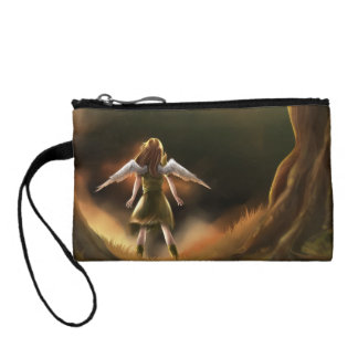 Girl and Pet Parrot Key Coin Clutch