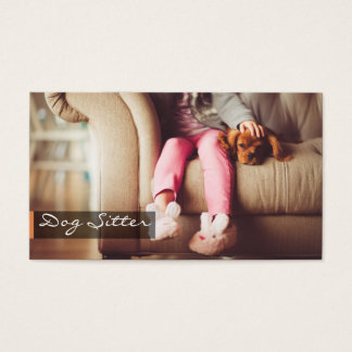 Girl And Puppy Dog Dog Sitter Business Card