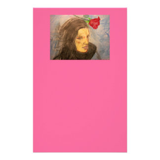 girl and rose personalized stationery