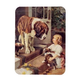 Girl and Saint Bernard Dogs, Rectangular Photo Magnet