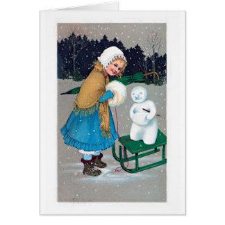 girl and snowan , retro card