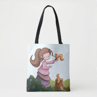 Girl and squirrel bag