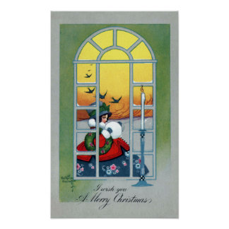 Girl and Swallows Through a Window Vintage Xmas Poster