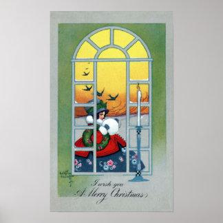 Girl and Swallows Through a Window Vintage Xmas Poster