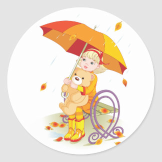 Girl And Teddy Bear In The Rain Stickers