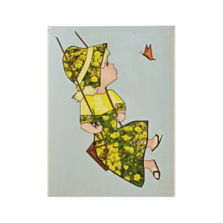 Girl and Tree Swing Wood Poster