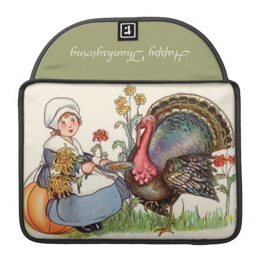 girl and turkey, vintage thanksgiving sleeves for MacBooks