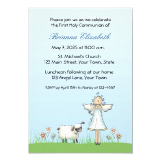 Girl Angel and Lamb, Blue, First Communion Card