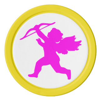 Girl Angel Clay Poker Chips, Yellow Solid Edge Poker Chips