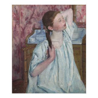 Girl Arranging Her Hair by Mary Cassatt Art Photo