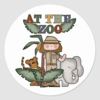 Girl At the Zoo Classic Round Sticker