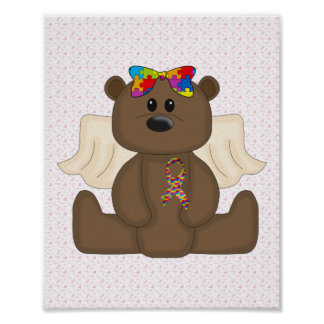 Girl Autism Awareness Bear Poster
