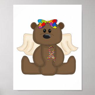 Girl Autism Awareness Bear Print