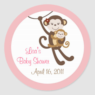 Girl Baby Monkey Jungle Envelope Seals Stickers