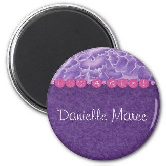 Girl-baby shower 6 cm round magnet