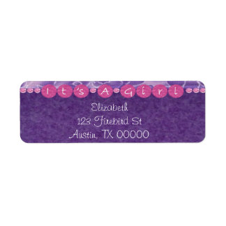 Girl-baby shower Address label