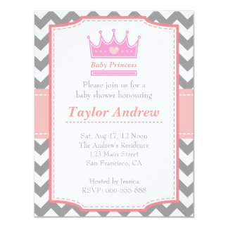 Girl Baby Shower - Baby Princess With Pink Crown 11 Cm X 14 Cm Invitation Card
