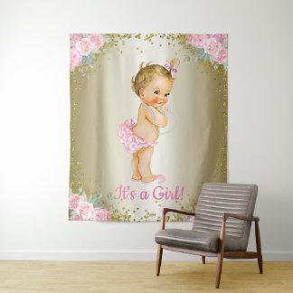 Girl Baby Shower Banner Backdrop Tapestry