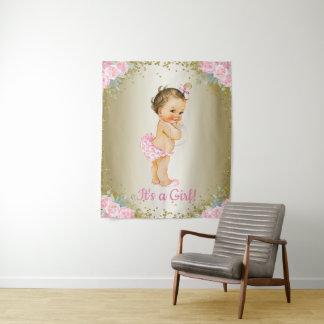Girl Baby Shower Banner Backdrops Tapestry