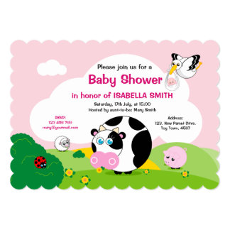 Girl Baby Shower: Cute black and white cow scene, Card