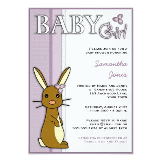 "Girl Baby Shower Cute Bunny Flower - Purple 5"" X 7"" Invitation Card"