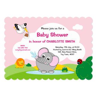 Girl Baby Shower: Cute cartoon grey elephant, Card