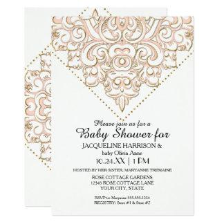 Girl Baby Shower Damask Pattern Rose Gold Dot Lace Card
