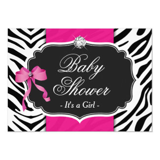 Girl Baby Shower - Elegant Zebra Print Hot Pink Card