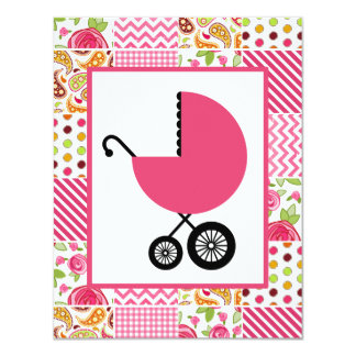 Girl Baby Shower - Girly Patchwork Card