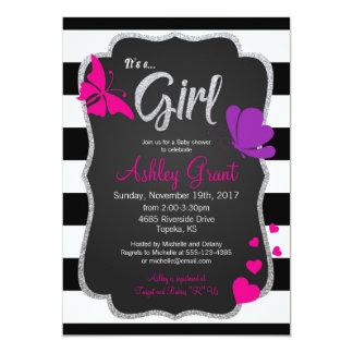 Girl Baby Shower Invitation, Chalkboard, Butterfly Card