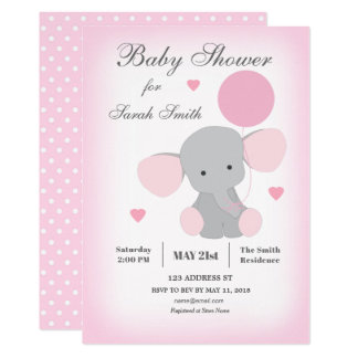 Girl Baby Shower Invitation Elephant Pink