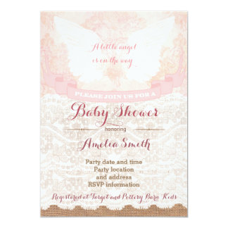 girl baby shower invites, pink angel baby shower 13 cm x 18 cm invitation card