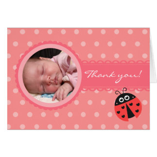 Girl Baby Shower -  Ladybug Thank you card