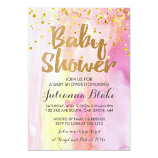 Girl Baby Shower Modern Watercolor Invitation