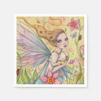 Girl Baby Shower Napkins Mother Baby Fairies Paper Napkins