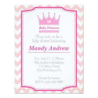 Girl Baby Shower - Pink Baby Princess With Crown 11 Cm X 14 Cm Invitation Card