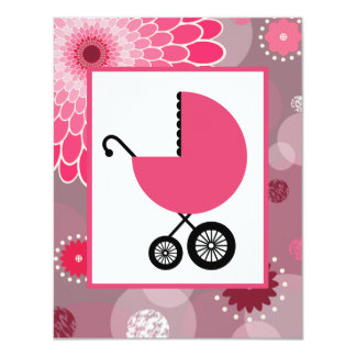 Girl Baby Shower - Pink Carriage Dots & Flowers 11 Cm X 14 Cm Invitation Card
