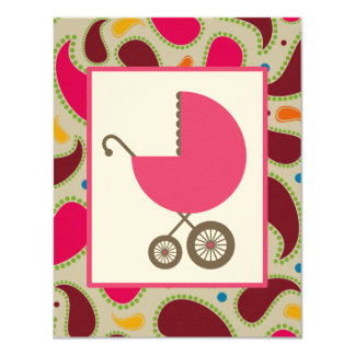 Girl Baby Shower Pink Carriage & Paisley 11 Cm X 14 Cm Invitation Card
